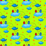 Love Bird in a Cloudy Garden Seamless Pattern. Seamless pattern with 2 birds on a cloudy garden. The blue Bird is singing a love song to the red bird with heart Stock Images