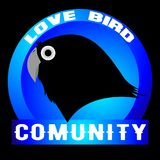 Love bird community. An illustration of the love bird community logo as a symbol for lovebird lovers of birds Royalty Free Stock Images