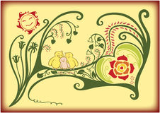 Love bird family. An illustration of a bird's family on a decorative tree with sun smiling vector illustration
