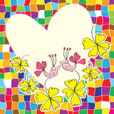 Love bird flower space card Stock Photo