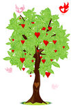 Love bird flying around tree with heart. Illustration of love bird flying around tree with heart Royalty Free Stock Photo