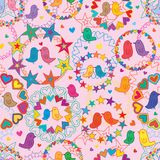Love bird garland love star colorful seamless pattern. This illustration is design and drawing love bird garland with love and star colorful with pink color Stock Photos