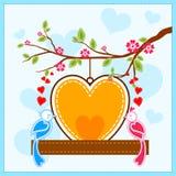 Love bird in Happy Valentine's Day background Stock Photos