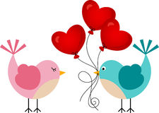 Love bird with heart balloons Royalty Free Stock Photo