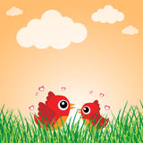 Love bird with hearts Stock Images
