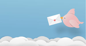 Love bird letter paper art copy space vector paper cut cute illu Royalty Free Stock Photo