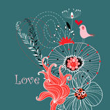 Love bird in plants Stock Photos