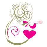 Love bird singing. Valentines abstract tree with bird singing, vector illustration Royalty Free Stock Photography