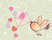 Love bird. Vector greeting card of a flying bird with a love letter Royalty Free Stock Photography