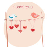 Love birds. Vector design with birds in love and decorative hearts Royalty Free Stock Images