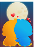 Love birds. Two lovebirds watching the moon in love Stock Images