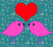 Love birds. On a starry background Royalty Free Stock Photography
