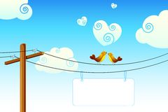 Love Birds. Illustration of love birds sitting on wire with display board royalty free illustration
