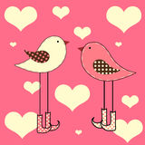 Love Birds. Cute love birds with hearts Royalty Free Stock Photography