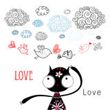 Love birds. Funny bird lovers and cat in the clouds Royalty Free Stock Images