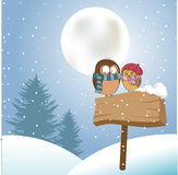 Love birds. In the winter night royalty free illustration