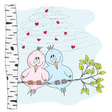 Love birds. Vector illustration of two cute birds in love, sitting on a branch of a tree. EPS 10, no transparencies, no gradients stock illustration