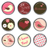 Love Birds 3D Button Set Stock Photography