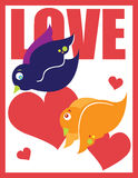 Love Birds. Two love birds with hearts and the word love Royalty Free Stock Photos