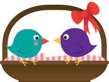 Love Birds with Basket. Illustration of: Love Birds standing on Basket stock illustration