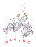 Love birds and a beautiful floral ornament Stock Photography