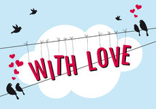 Love with birds in blue sky, vector Royalty Free Stock Photo