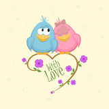 Love birds on the branch. With flowers and leaves. Vector Illustration royalty free illustration