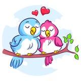 Love Birds on the Branch. Vector Illustration of Love Birds on the Branch Royalty Free Stock Image