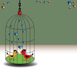 Love birds in a cage Stock Photo