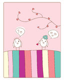 Love and birds. Cheerful card.  girl bird gives little heart.  illustration Royalty Free Stock Image