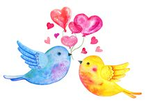 Love birds couple flying with heart balloons. Hand drawn watercolor illustration for St Valentine`s day