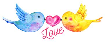Love birds couple flying with heart and title. `Love`. Hand drawn watercolor illustration for St Valentine`s day isolated on white background vector illustration