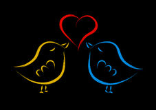 Love birds. Cute love birds with red heart isolated on black Royalty Free Stock Image