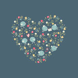 Love birds in a floral heart. Vintage illustration of a floral heart with love birds, vector background Royalty Free Stock Photos
