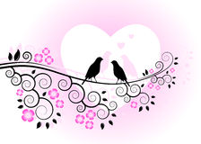 Love birds on flowering branch Royalty Free Stock Photo