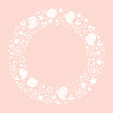 Love birds and flowers nature circle frame border ornamental bright background Stock Photography