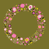 Love birds and flowers nature circle frame border ornamental Stock Images