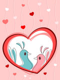 Love birds in heart. Abstract heart stripes background with love birds in heart, romantic concept background vector illustration