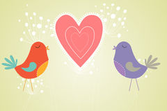 Love birds with heart and dandelions Stock Photo