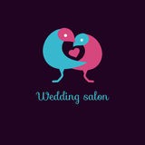 Love birds and heart. Logo vector, blue and pink web icon sweet cute lovebirds for wedding salon royalty free illustration