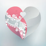 Love Birds Heart. Two kissing love birds form one beautiful heart. Perfect design element for wedding or anniversary Stock Photo