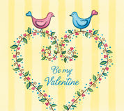 Love birds with heart wreath. Couple of cute birds in love standing on a floral heart. Watercolor illustration Stock Image