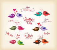 Love birds with hearts Stock Photo