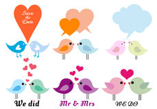 Love birds with hearts, vector set. Cute love birds with hearts, set of vector design elements stock illustration