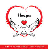 Love Birds I Love You Red Heart vector illustration