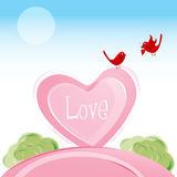 Love Birds In Valentine Card Royalty Free Stock Images