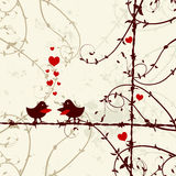 Love, birds kissing on branch Stock Photography