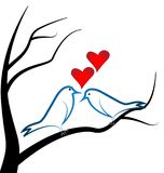 Love Birds perched on a branch tree Heart love. Design illustration royalty free illustration