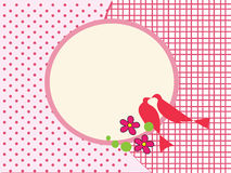 Love birds pink frame background Royalty Free Stock Image