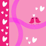Love Birds in pink valentine's card Stock Photography